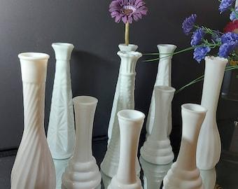 Lot of Milk Glass Bud Vases, Vintage Milkglass, Bridal Vase Centerpiece, Wedding Decor, Home Decor