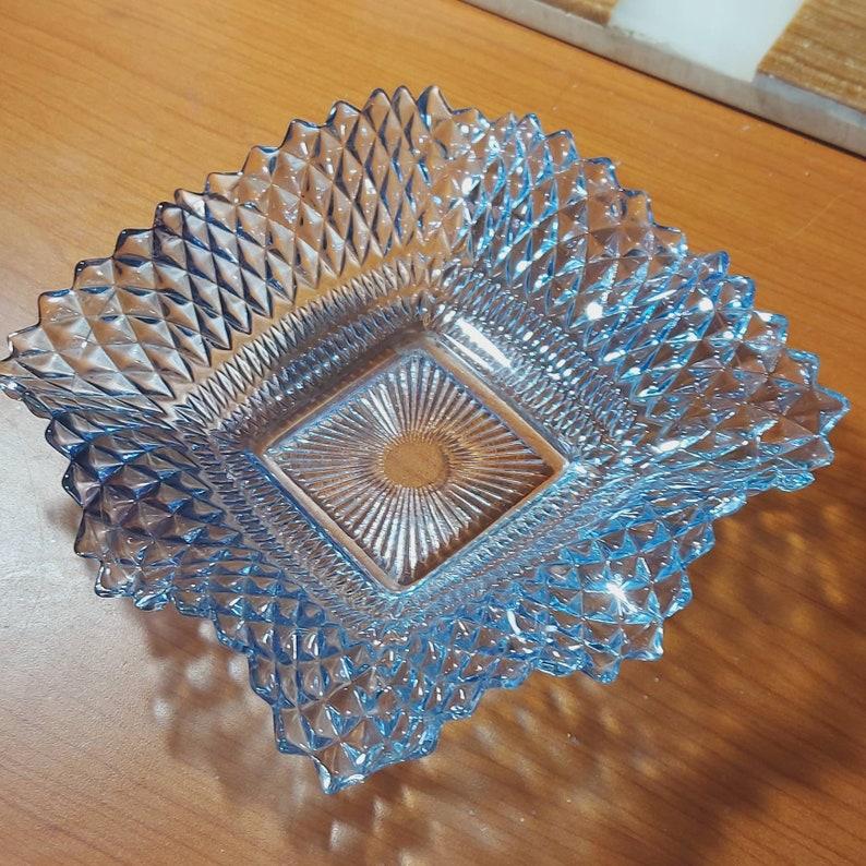 Diamond Pattern Home Decor Ashtray Trinket Dish Indiana Glass Ruffled Glass Dish