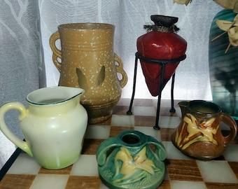 Assorted Pottery, Vintage, Antique, Ceramic, Vase, Pitcher, Roseville Pottery, Signed Pottery, Home Decor