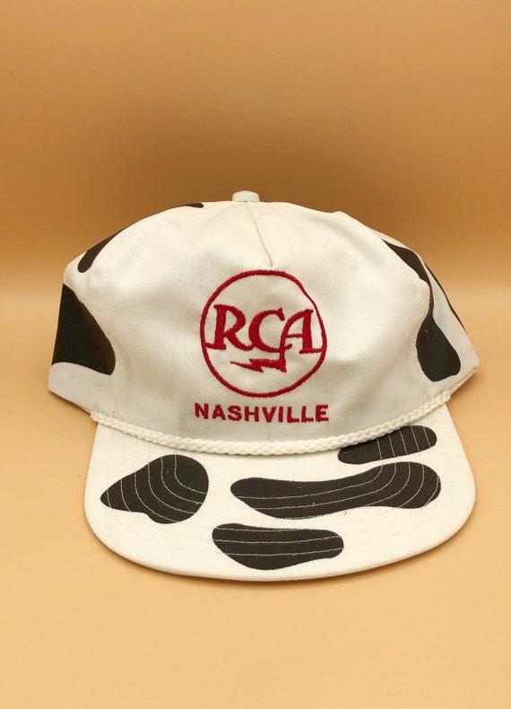 VINTAGE // 1980s RCA Nashville Cow Print Cap