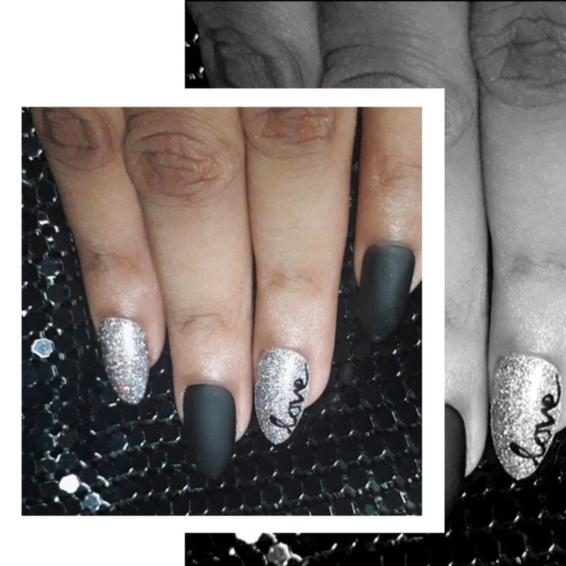 Black Matte  Silver Glitter  Love Nails  Press-On Nails  image 0