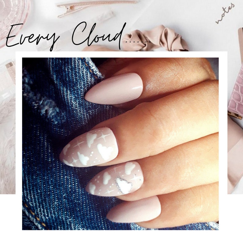 Pink Cloud Nails Pink and White Press-on nails acrylic image 0