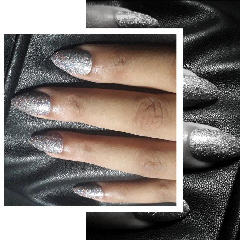 Silver Glitter  Press-On Nails  Acrylic Nails  False Nails image 0