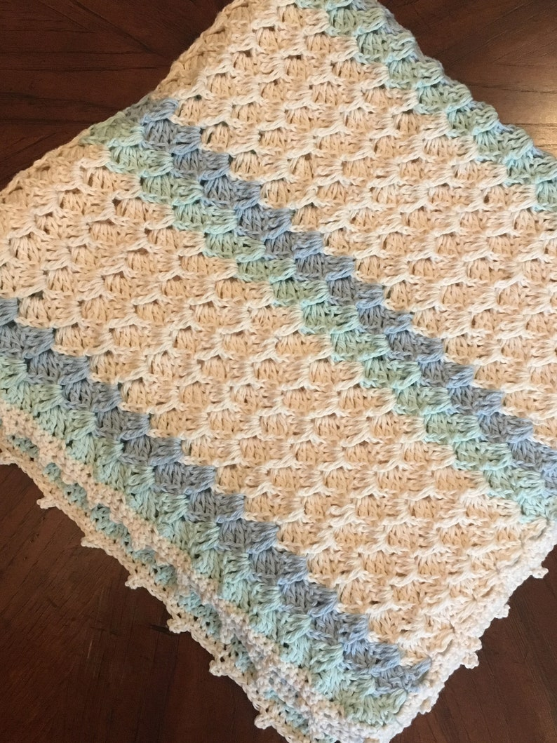 Crochet work with 100/% Organic Cotton Organic Handmade Baby Blanket
