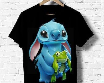 T-Shirt Noir Pour Femme Top Stitch Frog Grenouille Disney S M L XL XXL