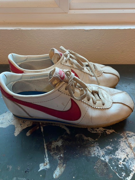 Nike Cortez 1970s red leather sneakers