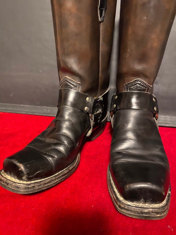 Vintage square toe harness  Motorcycle boots.