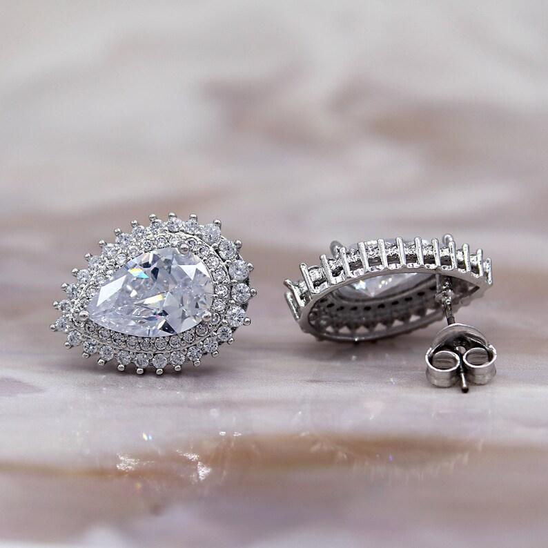 Pear Double Halo Cluster Earrings Pear Stud Bridesmaid Earrings For Women Sterling Silver Studs Stud Earrings Push Back Earrings