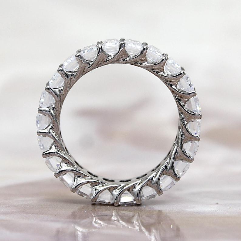 Eternity Band Sterling Silver Bridal Band Ring Emerald Cut Full Eternity Wedding Band 7.00 TCW Wedding Ring Diamond Wedding Band