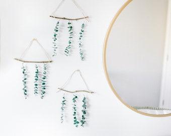mini trio - dried eucalyptus, wall hanging, boho wall decor
