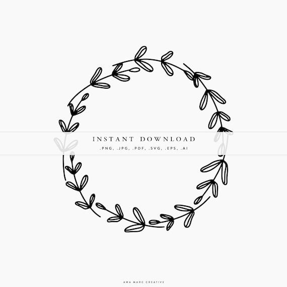 Round Frame Floral Frame Wreath Leaves Illustration SVG Cricut Cut Files Monogram Frame Vector Wreath Design Instant Download Design