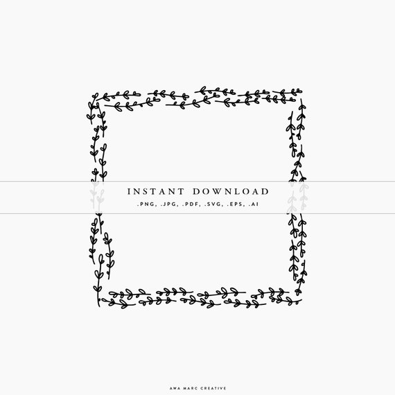 Silhouette Design Winter Clipart Vector Rectangular Frame Rectangle Illustration Leafy Vector Frame SVG Christmas Wreath Cricut Files