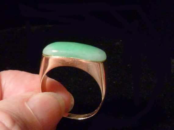 14K Apple Jade Saddle Ring