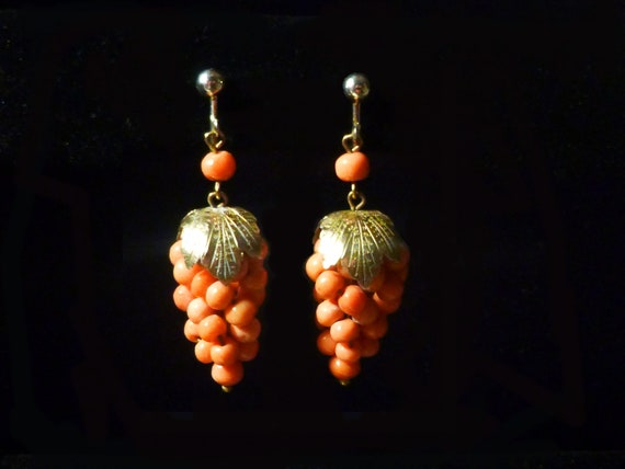 Victorian Coral Grapes 800 Silver Earrings