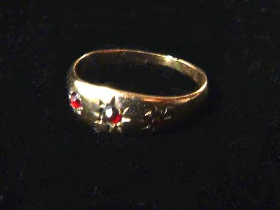 Victorian Three Garnet Child's Ring