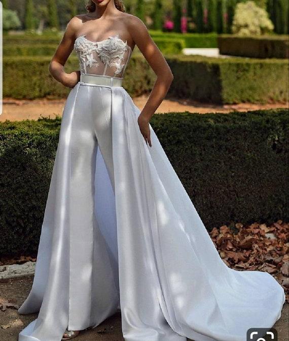 White Bridal Jumpsuit With Cape Wedding Reception Jumpsuit Women S Party Jumpsuit African Women Jumpsuit Cape Jumpsuits Cape Dressee