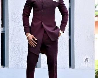Men's prom suit,wedding suit,african men clothing,groomsmen suit,formal wedding men bespoke suit,African men's wear,men's kaftan,groom suit