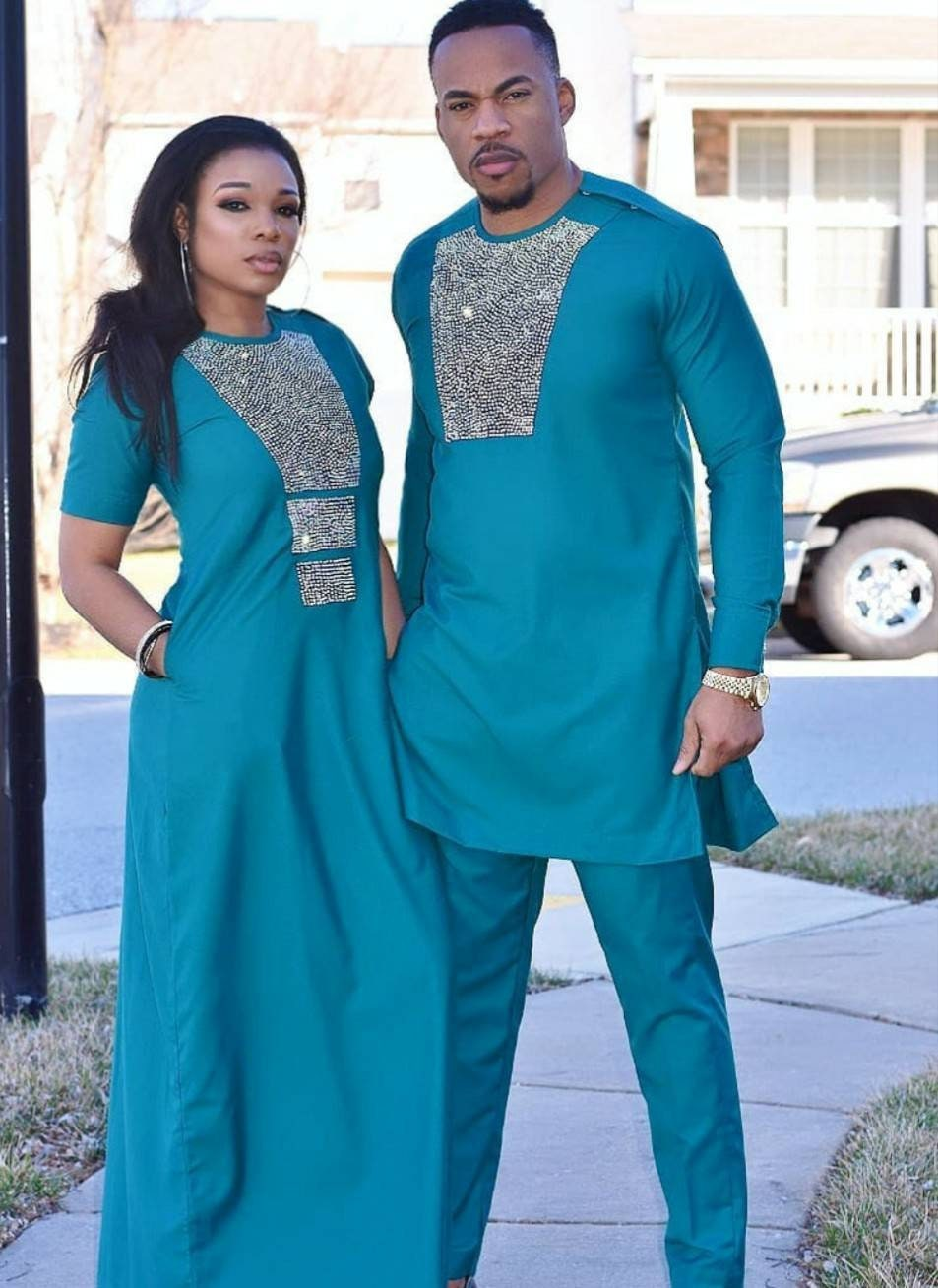 African Matching Couple Cloth Women Maxi Dress Men Jacket Suit Lovers V11684
