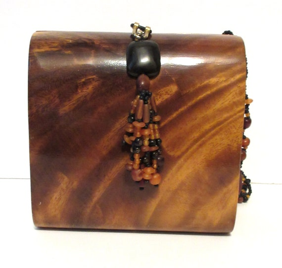 Timmy Woods of Beverly Hills Acacia Wood Box Purse