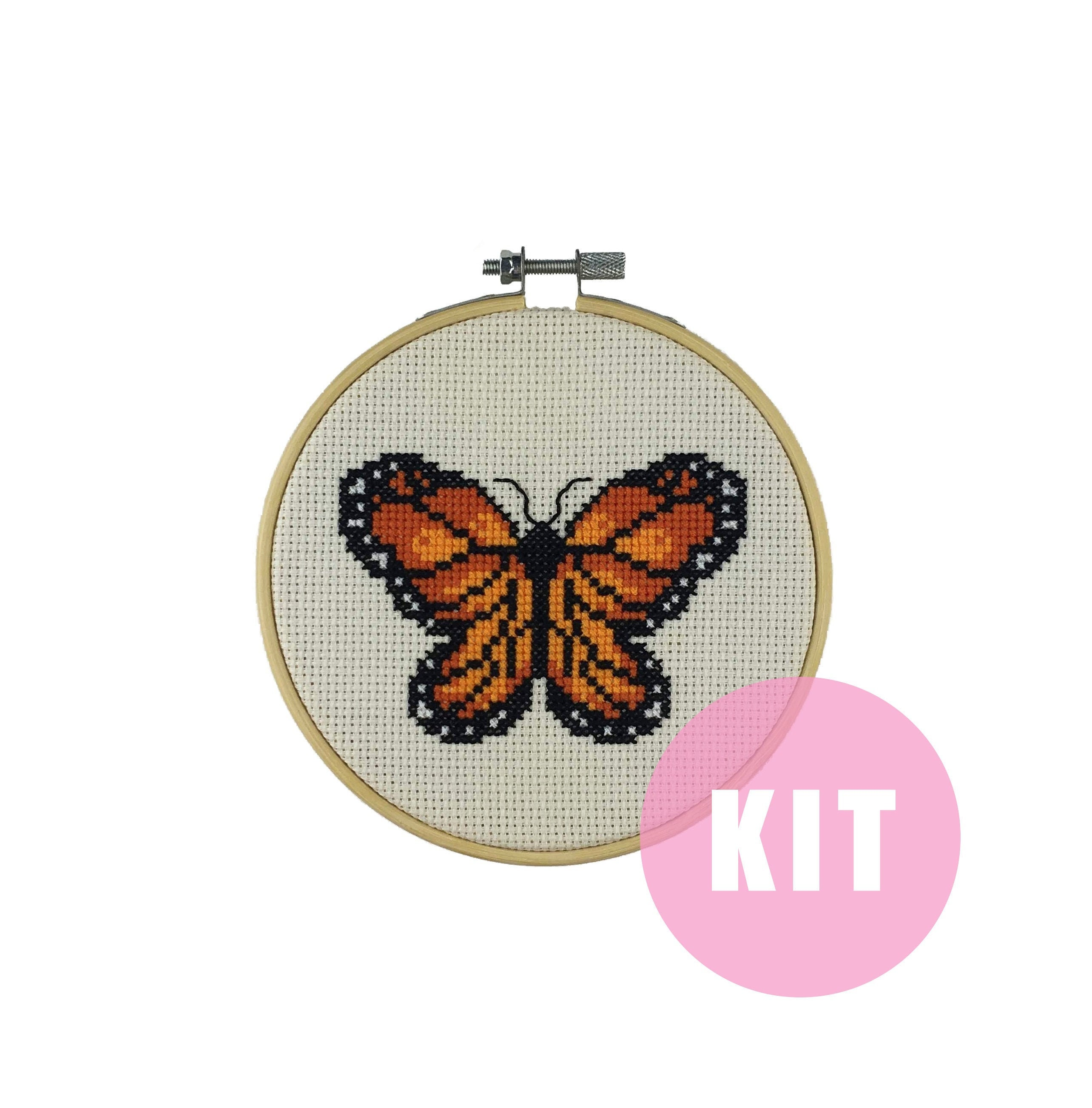 Monarch Orange Black Butterfly Counted Cross Stitch Chart Pattern