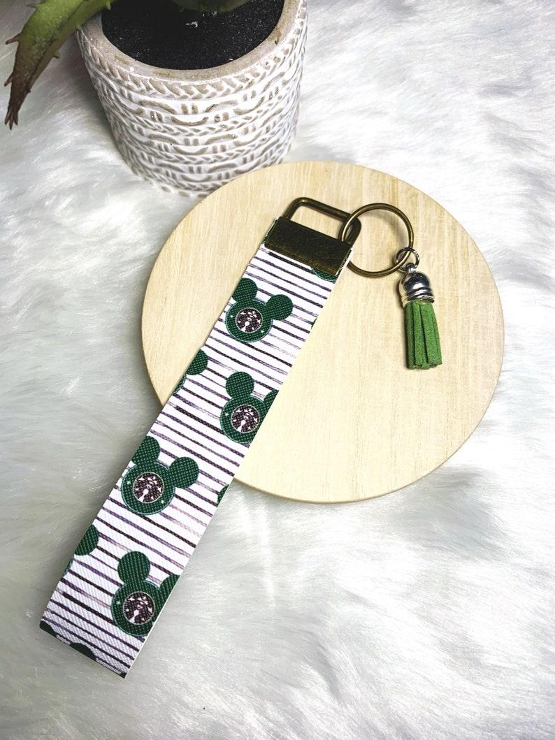 Starbucks inspired Mouse Coffee Print Keyfob Wristlet
