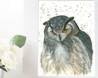 Watercolor Owl Wild Bird, Woodland Creatures Water Color Painting, Animal Kingdom Bird Lovers Gifts, Wild Animal Wall Art Bird Watcher Gift
