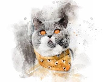Custom Cat Portrait Digital Portrait, Cat Birthday Card Budget Printable, Cat Loss Gift Funny Pet Portrait, New Cat Gift Pet Lover Gift
