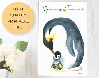 Penguin Gift Custom Printable, Water Color Painting Animal Lover Gift, Expecting Mom Gift Nursery Decor, Animal Kingdom New Born Gift
