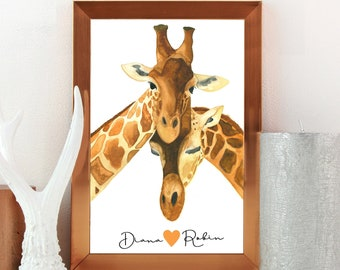 Giraffe Print Custom Printable, Cute Couple Gifts, One Year Anniversary Water Color Painting, Animal Kingdom Just Married Gifts