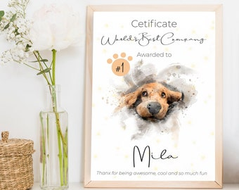 Dog Drawing Custom Gift Certificate, Water Color Painting Family Pet Portrait, Pet Art From Photo New Cat Gift, Pet Sympathy Card