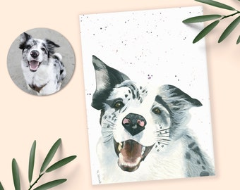 Custom Pet Drawing Water Color Painting, Dog Sketch Dog Memorial Frame, Dog Birthday Card Custom Dog Painting, Personalized Dog Art