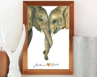 Custom Printable Elephant painting, Animal Kingdom Watercolor Painting, Cute Couple Gifts Newly Engaged, Just Married Gifts