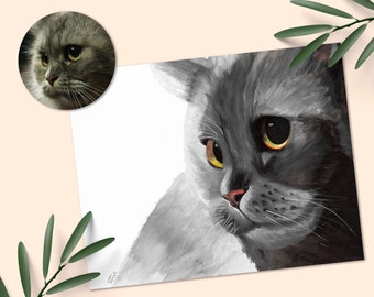Custom Cat Portrait Water Color Painting, Cat Themed Gifts Painting From Photo, In Loving Memory Cat Loss Gift, Cat Themed Gifts