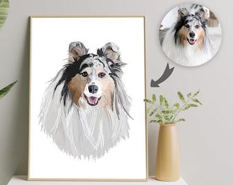 Personalized Dog Art Cartoon Pet Portrait, Pet Art From Photo Pet Parent Gift, Cat Loss Gift Custom Cat Painting, Digital Cat Portrait