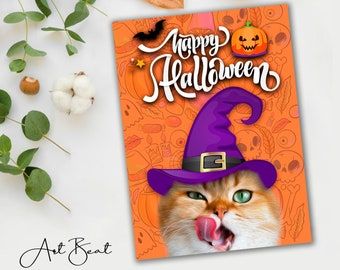 Diy Halloween Decor Funny Pet Portrait, Dog Halloween Cat Loss Gift, Gifts For Cat People Halloween Invitation, Pet Art From Photo