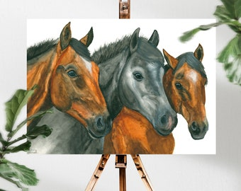 Horse Painting Animal Lover Gift, Boho Artwork Three Best Friends, Water Color Painting Animal Lover Gift, Animal Kingdom Horse Owner Gift