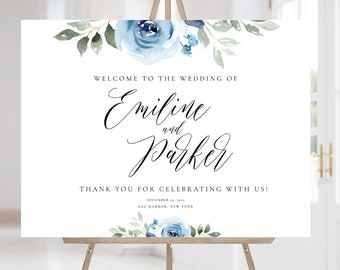 Dusty Blue Wedding Welcome Sign, Floral Wedding Sign Template, Editable Welcome Sign, Large Wedding Welcome Sign, OM-039, Navy, Instant