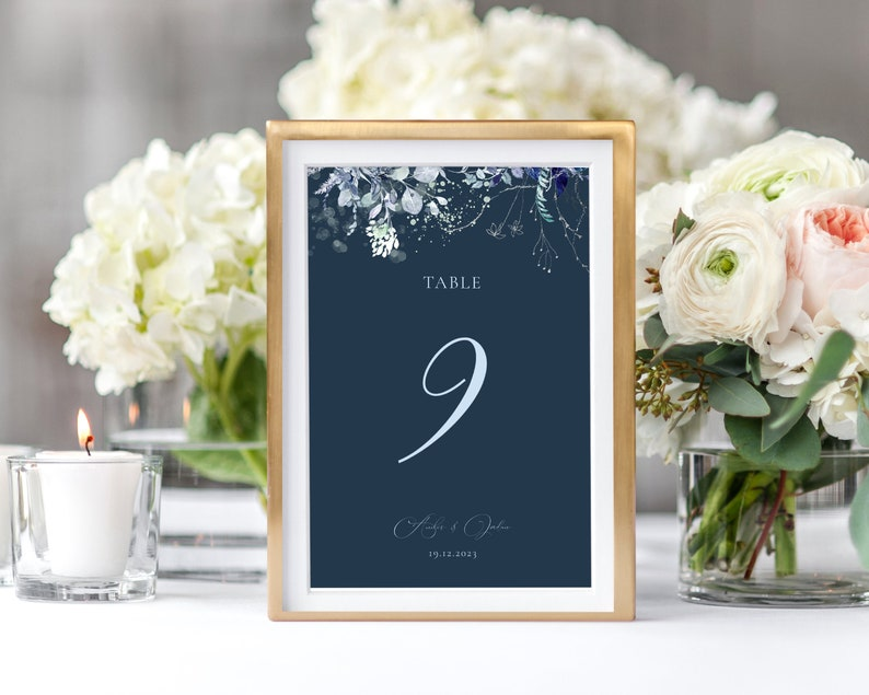 Printable Wedding Table Number Cards Instant Download Navy Table Number Cards OM-042 Elegant Wedding Table Numbers Template Blue