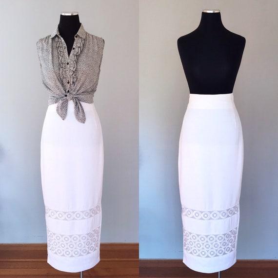 Vintage Skirt  80s Pencil Wiggle White