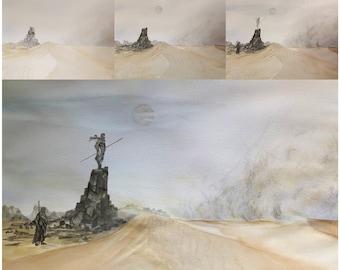 """12X12 Print of watercolor """"Dune Inspired Sandstorm"""""""