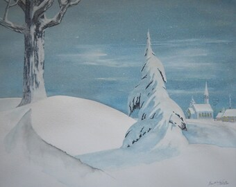 Heavy Snow. 16X20 original winter watercolor painting.