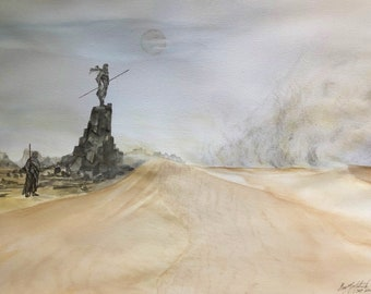 18X24 Original watercolor Dune inspired Sandstorm