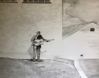 Original 18X24 B/W Watercolor inspired by Tom Waits Hold On