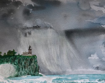 Original Watercolor of Stormy Split Rock Lighthouse