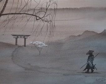 Original Watercolor Painting Samurai on the road
