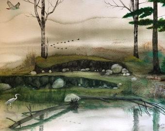 Original Watercolor Lakeshore and Birds