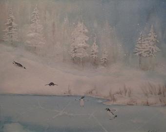 Original watercolor of Penguins having fun in the winter