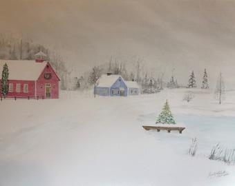 Snow Fall Original Watercolor 18<24