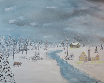 Original Watercolor 16X20 of a moose coming out of the woods in a snow storm