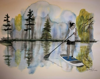 18X24 Original watercolor Paddle Board on the Lake